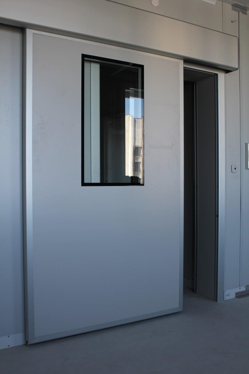 Kórházi rozsdamentes ajtó ablakkal